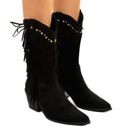 Czarne zamszowe botki kowbojki boho Loneflare