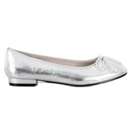 Goodin Eleganckie Baleriny Z Kokardą srebrny