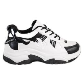 SHELOVET Wygodne Sneakersy Z Eko Skóry białe czarne