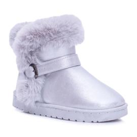 FRROCK Ocieplane Dziecięce Botki Śniegowce Z Futerkiem Srebrne JellyBeans srebrny
