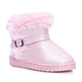 BUGO Ocieplane Dziecięce Botki Śniegowce Z Futerkiem Różowe JellyBeans