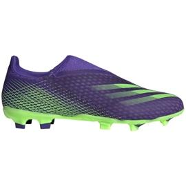 Buty piłkarskie adidas X Ghosted.3 Ll Fg M EG8164 zielony, fioletowy fioletowe