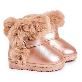 FRROCK Ocieplane Dziecięce Botki Śniegowce Z Futerkiem Różowe Złoto JellyBeans złoty
