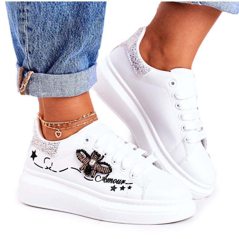 Damskie Sportowe Buty Sneakersy Z Muchą Białe Srebrne Amour