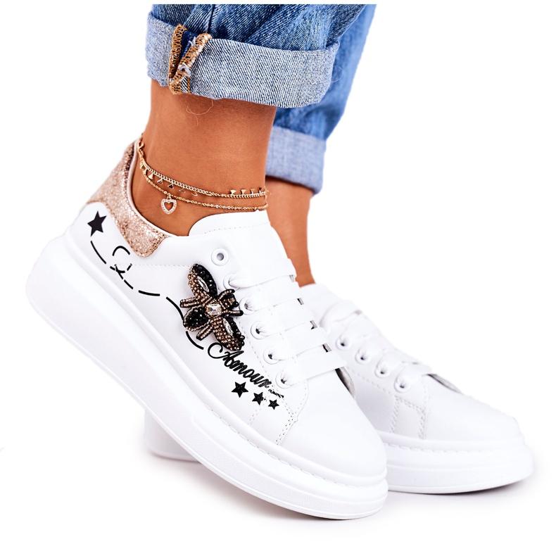 Damskie Sportowe Buty Sneakersy Z Muchą Białe Złote Amour