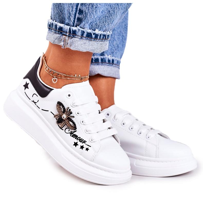 Damskie Sportowe Buty Sneakersy Z Muchą Białe Amour