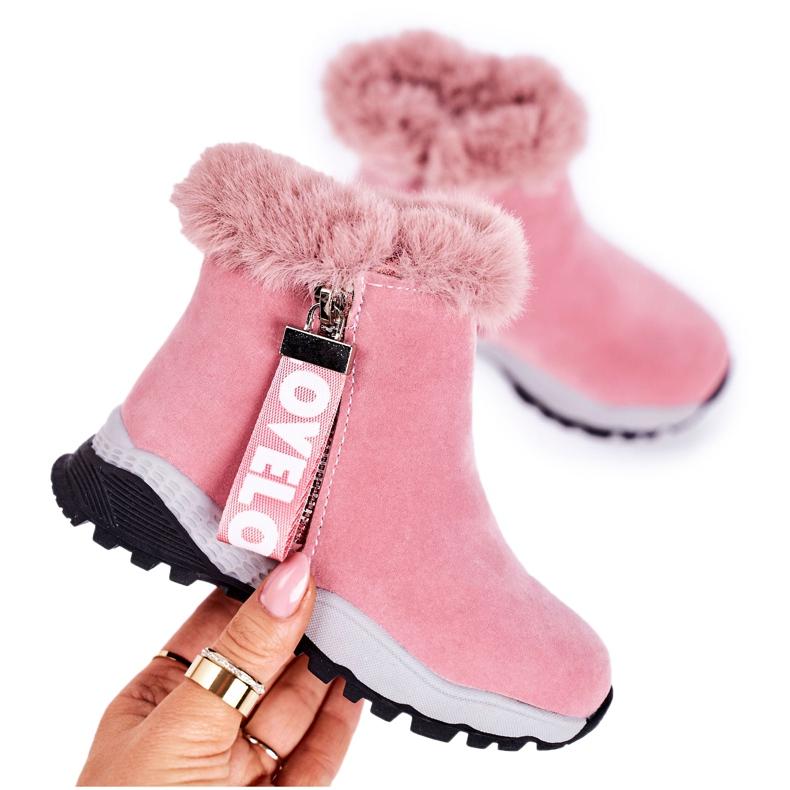 Linshi Dziecięce Ocieplane Botki Śniegowce Z Futerkiem Różowe Love-Love