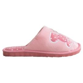 Bona Ciepłe Kapcie Happy Comfort białe różowe