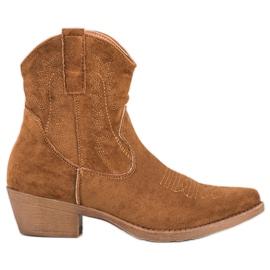 Ideal Shoes Kowbojki Z Zamszu brązowe