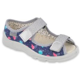 Befado obuwie dziecięce  869X144 niebieskie srebrny szare