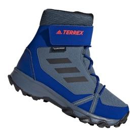 Buty adidas Terrex Snow Cf Cp Cw Jr G26579 czarne niebieskie szare