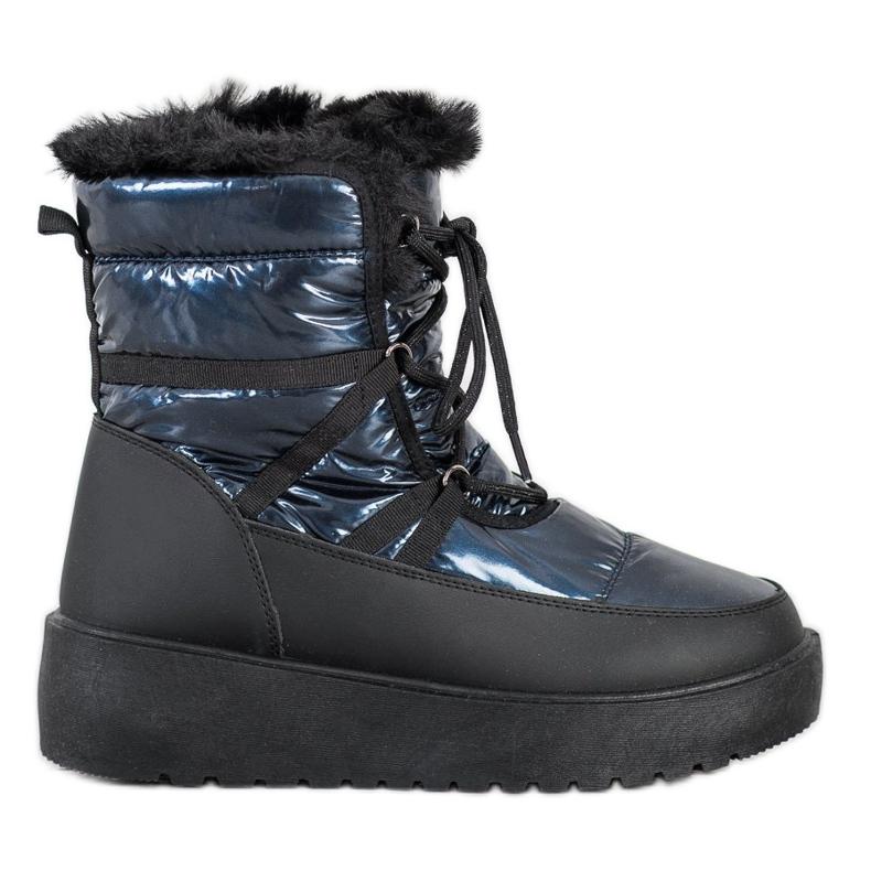 SHELOVET Śniegowce Na Platformie czarne niebieskie