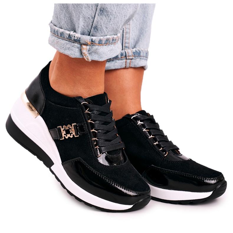 S.Barski Damskie Skórzane Sneakersy Na Koturnie Czarne Złote Roxette złoty