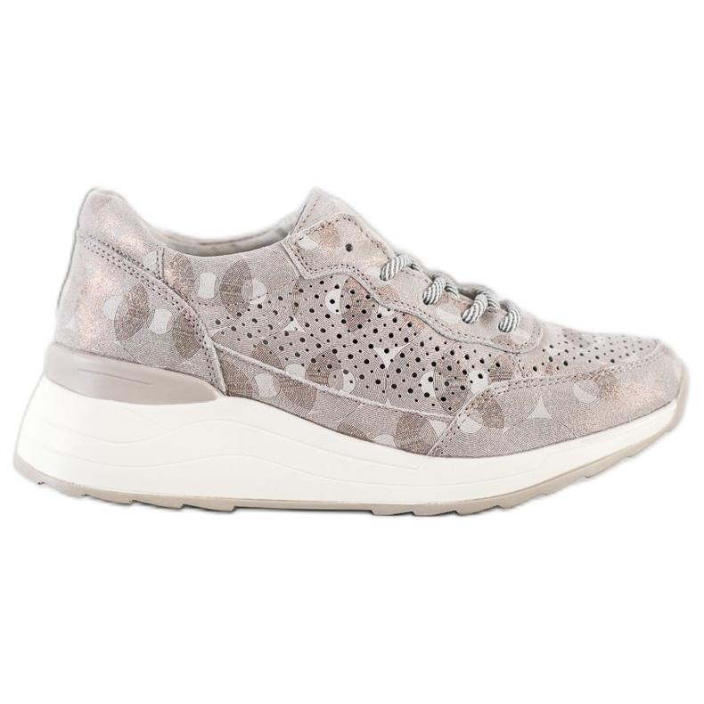 Goodin Stylowe Sneakersy Ze Skóry beżowy brązowe złoty