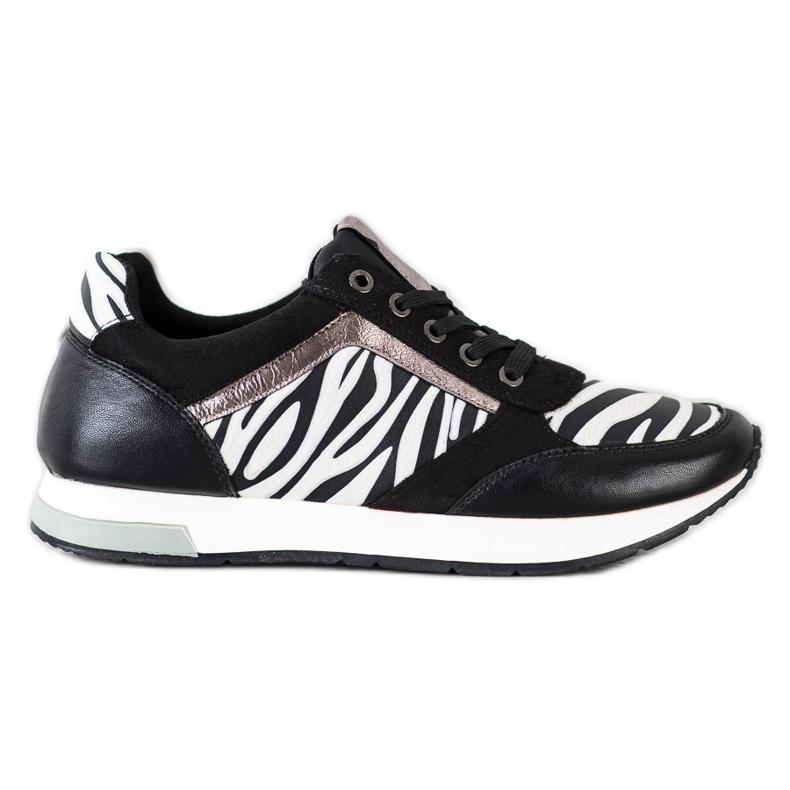 Kylie Modne Sneakersy białe czarne
