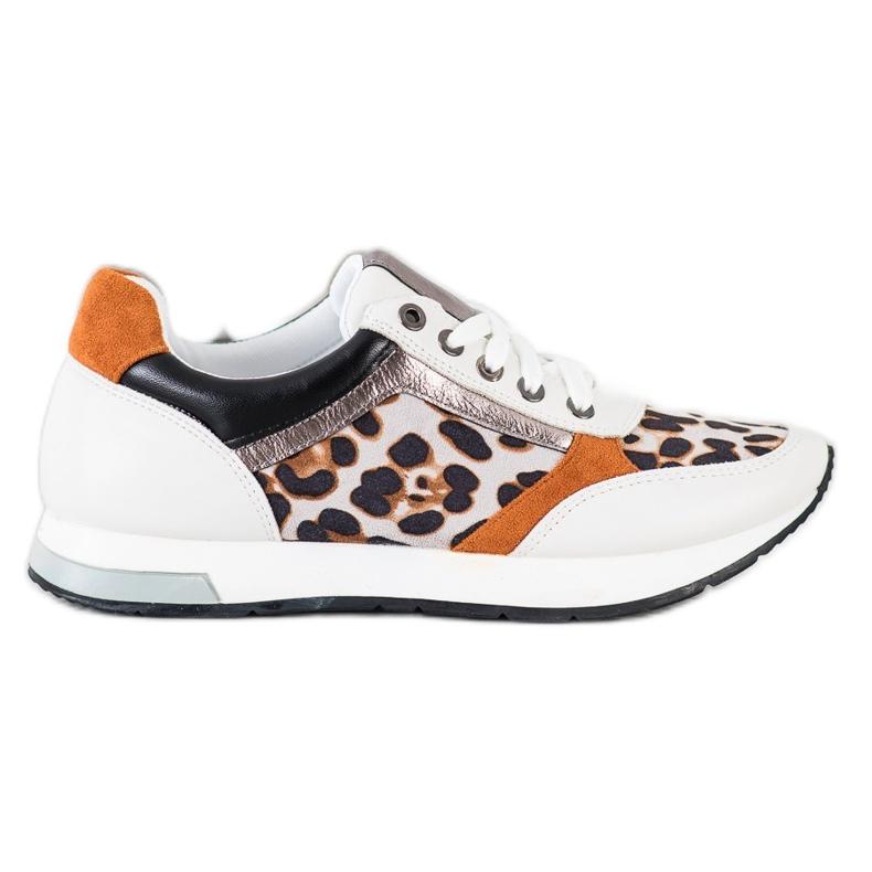 Kylie Modne Sneakersy beżowy białe brązowe pomarańczowe złoty