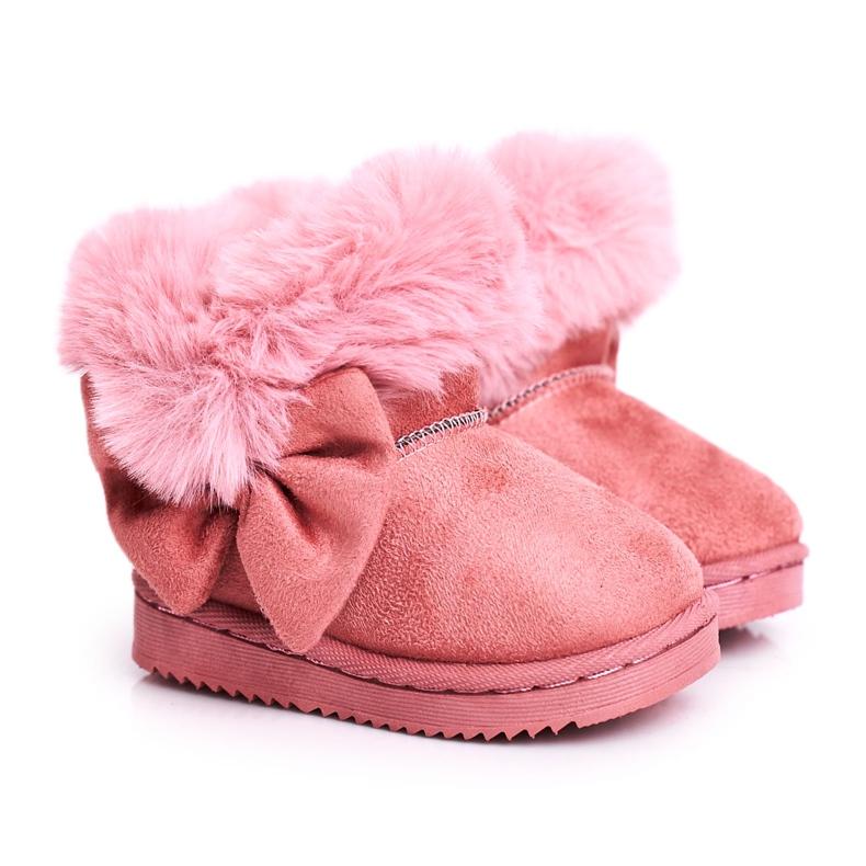 FRROCK Dziecięce botki śniegowce z futerkiem kokardką różowe Vella