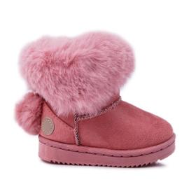 FRROCK Dziecięce Botki Śniegowce z Futerkiem Różowe Kiks
