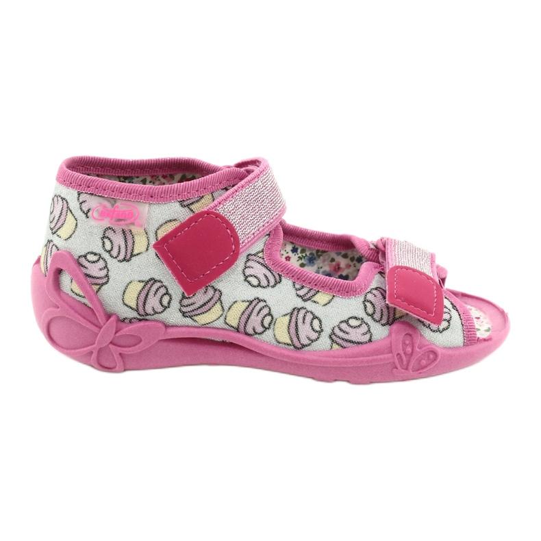 Befado obuwie dziecięce 242P099 różowe szare wielokolorowe