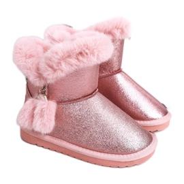 Apawwa Dziecięce Ocieplane Śniegowce Z Pomponami Różowe Clara