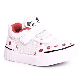 Apawwa Dziecięce Sportowe Buty Z Pandą Biało Czerwone Chico białe