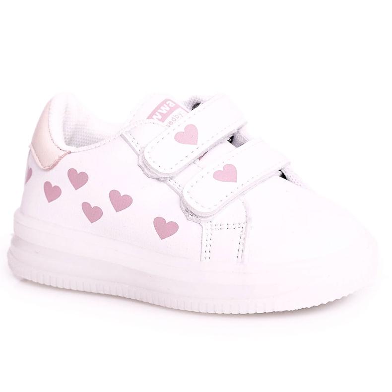 Apawwa Dziecięce Sportowe Buty Ze Świecącą Podeszwą Led Biało-Różowe Boomer białe