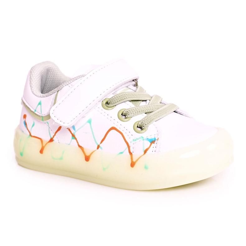 Apawwa Dziecięce Sportowe Buty Ze Świecącą Podeszwą Led Biało-Zielone Disco białe pomarańczowe