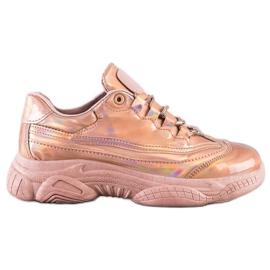 Ideal Shoes Sneakersy Z Efektem Holo różowe