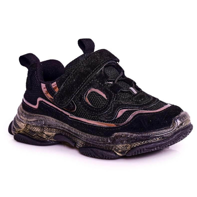 Apawwa Dziecięce Sportowe Buty Sneakersy Z Przezroczystą Podeszwą Czarne Bailey