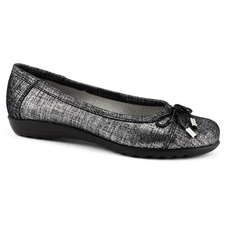 Dolce Pietro Baleriny damskie 2105 czarno-srebrne czarne