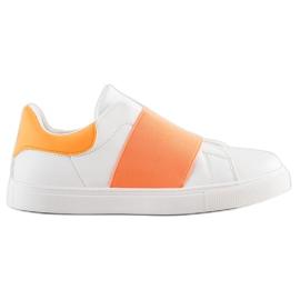SHELOVET Wsuwane Obuwie Z Gumką białe pomarańczowe