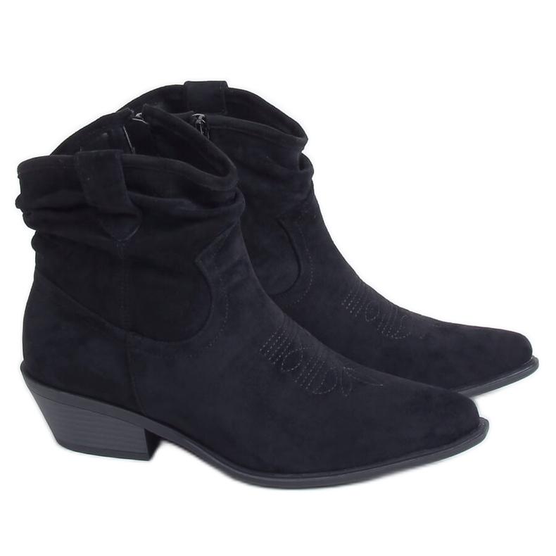 Botki damskie kowbojki czarne 99-65 Black