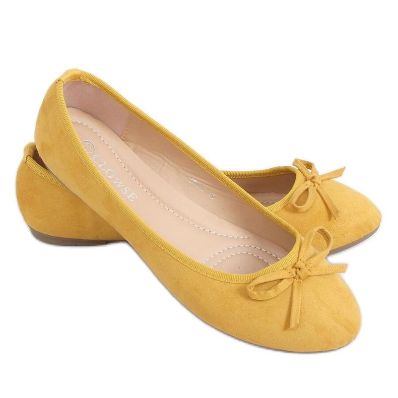 Baleriny zamszowe miodowe 9F116 Yellow żółte