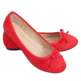 Baleriny zamszowe czerwone 9F116 Red