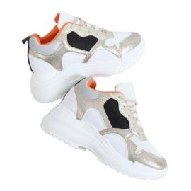 Buty sportowe na koturnie biało-złote 3171 Gold białe złoty