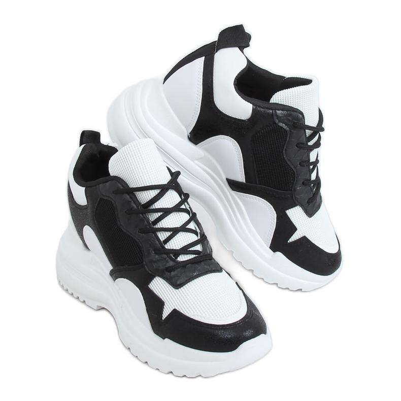Buty sportowe na koturnie biało-czarne 3171 Black białe