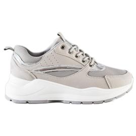 Ideal Shoes Stylowe Sneakersy Sportowe beżowy szare