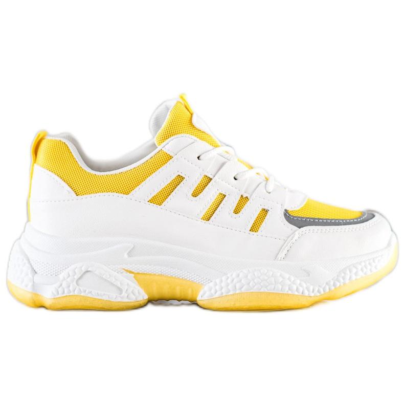 SHELOVET Wygodne Sneakersy Z Siateczką białe szare żółte