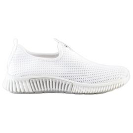 SHELOVET Wygodne Tekstylne Sneakersy białe