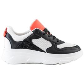 SHELOVET Casualowe Sneakersy Z Eko Skóry białe czarne