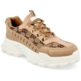 Damskie Sneakersy Na Masywnej Podeszwie Khaki Daydreamer beżowy brązowe złoty