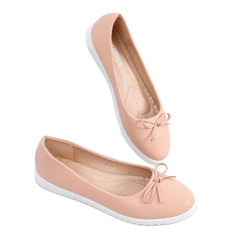 Baleriny damskie beżowo-różowe YSD826 Nude