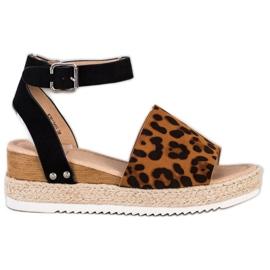 Kylie Sandały Na Koturnie Leopard Print brązowe czarne