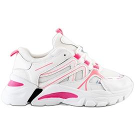 SHELOVET Sneakersy Z Różową Wstawką białe różowe
