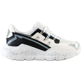 SHELOVET Sneakersy Z Ozdobną Platformą białe czarne srebrny szare