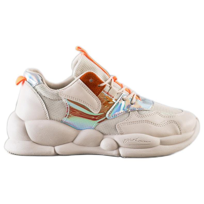 Bestelle Sneakersy Na Platformie Fashion beżowy pomarańczowe srebrny