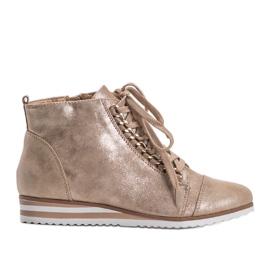 Beżowe sneakersy 15A8617 beżowy złoty