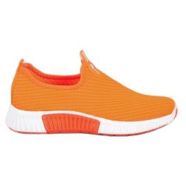 SHELOVET Wygodne Tekstylne Sneakersy pomarańczowe