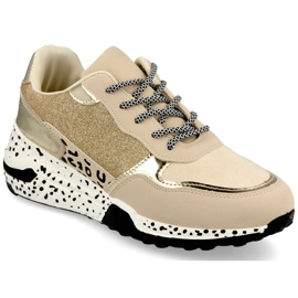 PS1 Damskie Sneakersy Na Koturnie Złote Avery beżowy