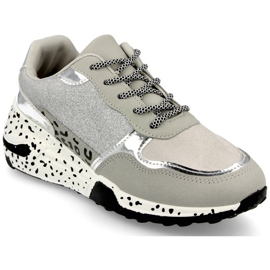 PS1 Damskie Sneakersy Na Koturnie Srebrne Avery szare wielokolorowe